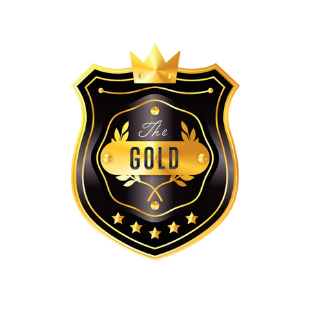 Gold and black badge vintage style isolated illustration