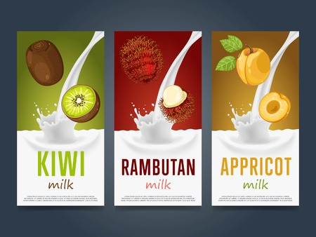 rambutan: Milkshake concept with milk splash and fruit illustration. Milk dessert, yogurt, fruit mix, cocktail drink, fruit smoothie with kiwi, rambutan, apricot packaging design template. Dairy product. Illustration