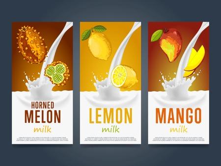 horned: Milkshake concept with milk splash and fruit illustration. Milk dessert, yogurt, fruit mix, cocktail drink, fruit smoothie with horned melon, lemon, mango packaging template. Dairy product.