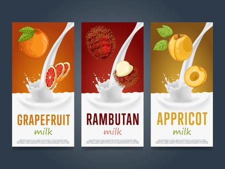rambutan: Milkshake concept with milk splash and fruit illustration. Milk dessert, yogurt, fruit mix, cocktail drink, fruit smoothie with grapefruit, rambutan, apricot packaging design template. Dairy Illustration