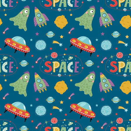 Space aliens cartoon seamless pattern. Funny one eye jelly creature, flying saucer, spaceship, stars, solar system planets, comets, moon, letters collage text illustrations on blue background