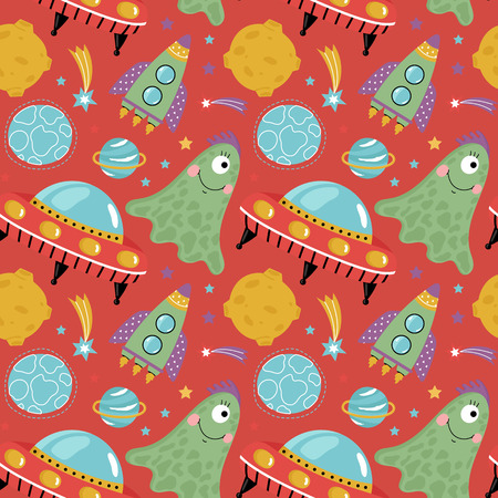 one eye: Space aliens funny cartoon seamless pattern. Cute one eye jelly creature, flying saucer, spaceship, stars, planets, comets, moon illustrations on red background. For wrapper, greeting cards Illustration