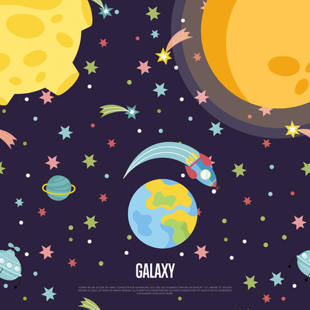 interstellar: Galaxy cartoon web template. Spaceship flying in outer space among stars, comets, Earth, Moon, Sun illustration. Interstellar flight concept for company, astronomical club, childrens cafe page Illustration