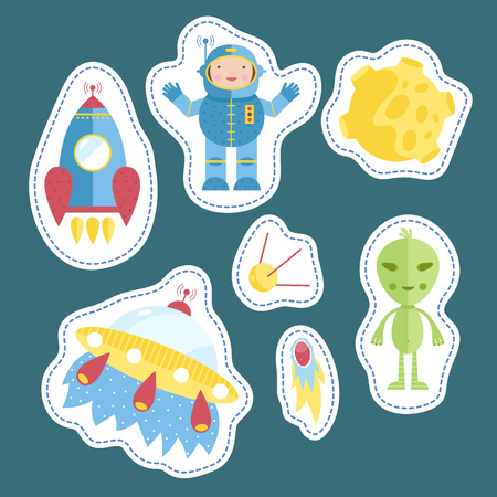 tokens: Space cartoon stickers. Astronaut, spaceship. flying saucer, satellite, comet or meteor, Moon, alien illustrations isolated on blue background. Counters or tokens for table games, price tags