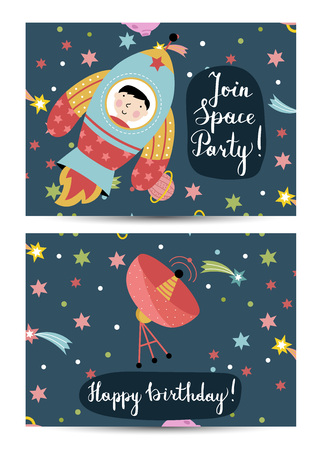 space antenna: Happy birthday cartoon greeting card on cosmic theme. Rocket with boy on board flying in space, parabolic antenna signaling in starry universe . Bright invitation on childrens costumed party Illustration