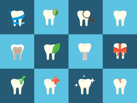 oral health: Conceptual teeth icons with various elements. Oral health care and dental hygiene teeth symbols. Dentistry illustration. Tooth care and restoration, stomatology and orthodontics.