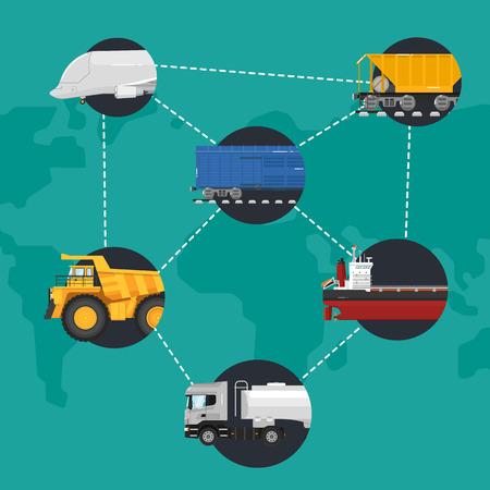 global logistics: Global logistics network concept. Worldwide delivery of goods logistics and transportation. Air cargo trucking, rail transportation, maritime shipping illustration. Support international trade Illustration