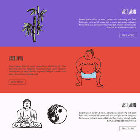 Visit Japan horizontal web banners. Bamboo, sumo wrestler, meditating Buddha with yin yang symbol drawn illustrations. Templates with country related symbols. For travel company landing page Illustration