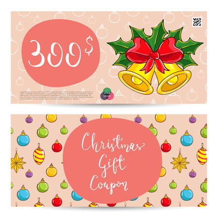qrcode: Christmas gift voucher template. Gift coupon with Xmas attributes and prepaid sum. Christmas bells with holly leaves and ribbon bow cartoon . Merry Christmas and Happy New Year greeting card