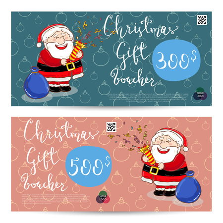 prepaid card: Christmas gift voucher template. Gift coupon with Xmas attributes and prepaid sum. Santa, gifts, christmas tree, gingerbread cookie cartoon . Merry Christmas and Happy New Year greeting card Illustration
