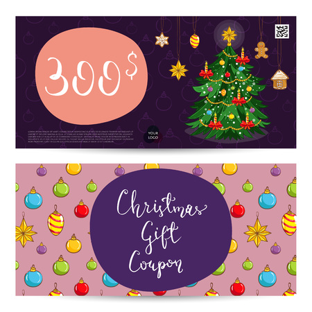 prepaid card: Christmas gift voucher template. Gift coupon with Xmas attributes and prepaid sum. Wrapped gifts, christmas tree toys cartoon . Merry Christmas and Happy New Year greeting card