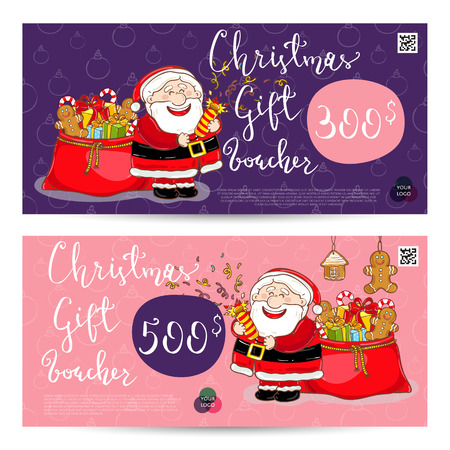Christmas gift voucher template. Gift coupon with Xmas attributes and prepaid sum. Santa, gifts, christmas tree, gingerbread cookie cartoon . Merry Christmas and Happy New Year greeting card Illustration