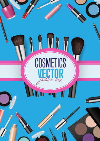 Modern cosmetics accessories concept. Different instruments for professional makeup vector illustrations set on blue background. For beauty salon, shop ad, brochures, flyers, sale promotions design