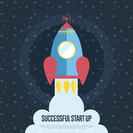 advanced technology: Successful start up cartoon banner. Spaceship takes off from planet surface in starry outer space vector illustration. Advanced technology web template. For modern innovative company landing page