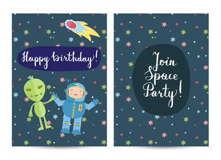 Happy birthday cartoon greeting card on space theme. Smiling astronaut with alien in cosmos among stars and comets vector illustrationon blue background. Bright invitation on childrens costumed party Illustration