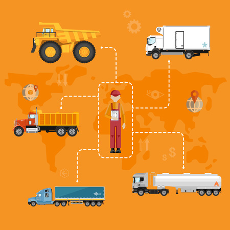 global logistics: Global logistics network concept. Air cargo trucking, rail transportation, maritime shipping vector illustration. Worldwide delivery business banner. Vehicles designed to carry large numbers cargo
