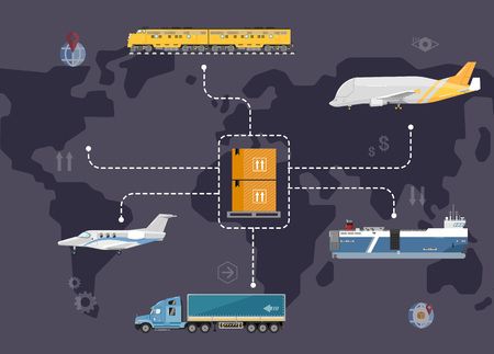 global logistics: Global logistics network concept. Worldwide delivery of goods logistics and transportation. Air cargo trucking, rail transportation, maritime shipping vector illustration. Support international trade