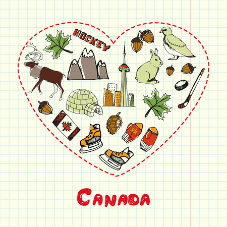 associated: Love Canada. Dotted heart filled with colored doodles associated with canadian nation on squared paper vector illustration. North America journey memories. Sketched nature, sports, architecture icons