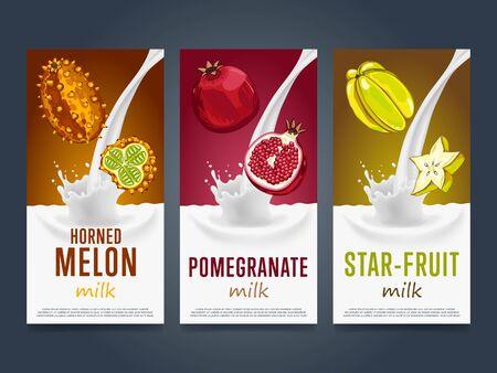 star product: Milkshake concept with milk splash and fruit vector illustration. Milk dessert, yogurt, fruit mix, cocktail drink, fruit smoothie with horned melon, pomegranate, star fruit packaging. Dairy product. Illustration