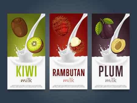 rambutan: Milkshake concept with milk splash and fruit vector illustration. Milk dessert, yogurt, fruit mix, cocktail drink, fruit smoothie with kiwi, rambutan and plum packaging design template. Dairy product.