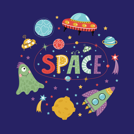 astronomic: Space icons in cartoon style. Spaceship, flying saucer, cute alien, colorful stars, planets, comets, text collage vectors isolated on blue background set. Funny astronomic concept for childrens book