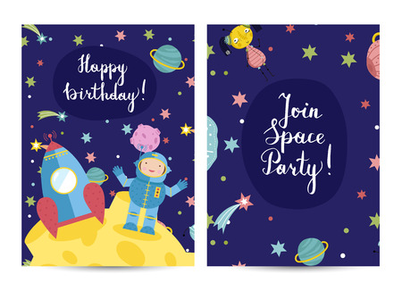 Happy Birthday Cartoon Greeting Card On Space Theme Astronaut