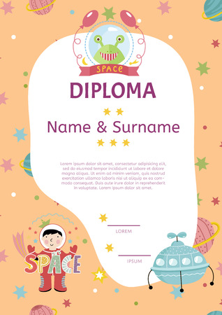 surname: Diploma cartoon template. Spaceship, stars. planets, comets. For award for victory in scientific competition. Cartoon space diploma template.