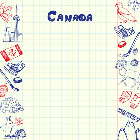 checked flag: Canada national symbols. Canadian national, cultural, architectural, nature, sports, tourist related hand drawn doodles on sides of squared paper sheet with copy space vector. Pen sketched asian icons