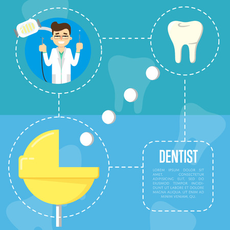 orthodontist: Smiling male cartoon dentist in white coat holding dental instruments, vector illustration. Dental treatment. Tooth care and restoration, stomatology and orthodontics. Tooth extraction process scheme. Illustration