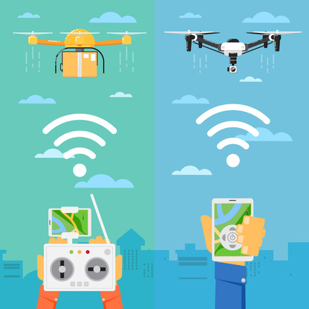 piloting: Drone technology banner with remotely controlled flying robots in city vector illustration. Multicopter piloting with tablet or smartphone. Unmanned aerial vehicle. Modern flying device with camera. Illustration