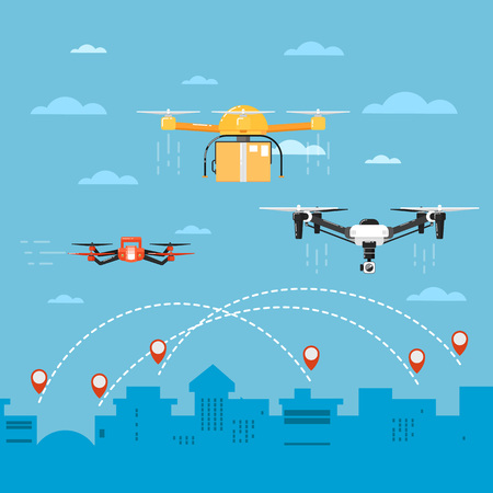 Drone technology banner with remotely controlled flying robots vector illustration. Multicopter delivery concept. Unmanned aerial vehicle. Drone aircraft with camera. Modern flying device.