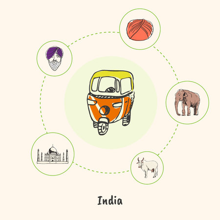 india cow: Attractive India. Motorikshi colorized doodle surrounded elephant, cow, Taj Mahal, man in turban hand drawn vector icons. Indian cultural, religious, architectural symbols. Travel in Asia concept