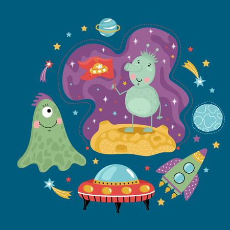 platillo volador: Concepto de espacio en estilo de dibujos animados. Nave espacial, platillo volador, extraterrestres lindos, estrellas coloridas, planetas, cometas vector iconos aislados sobre fondo azul conjunto. Ilustración divertida astronómica para el libro para niños