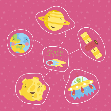 astronomic: Space objects in cartoon style. Smiling Saturn, Earth, Moon, alien in flying saucer, comet, satellite vector icons isolated on pink background set. Astronomic concept for childrens book illustrating