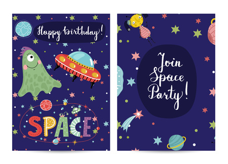 Happy birthday cartoon greeting card on space theme. Cute aliens and flying saucer in cosmos among stars and planets on blue background vector illustration. Invitation on childrens costumed party Illustration