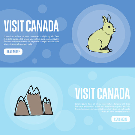 peaks: Visit Canada horizontal banners. Hare and mountain snow peaks hand drawn vector illustrations. Web templates with country related doodle symbols.