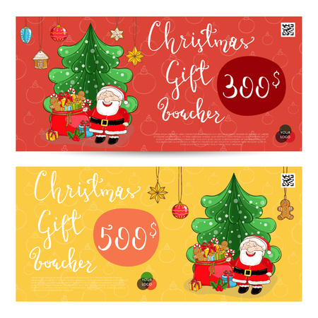 christmas gift voucher template gift coupon with xmas attributes and prepaid sum santa
