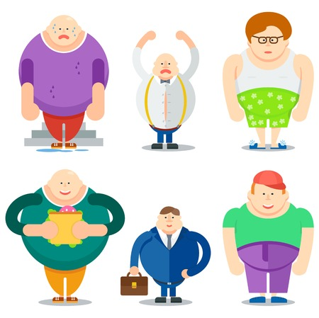 Funny fat man cartoon characters. Tired, angry, eating, business working, undressed fatty male vector illustrations isolated on white background. Unhealthy lifestyle and overweight concept