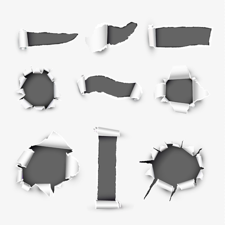 Realistic holes in white paper with damaged sides variety forms and sizes. Torn off white background with ripped edges vector illustrations set. Torn page banner template with copyspase for web design Ilustração
