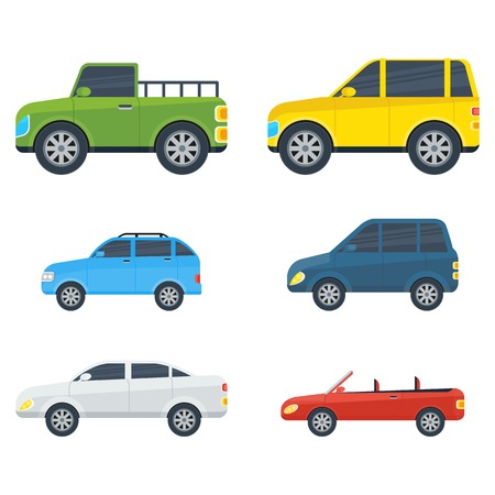 Passenger cars cartoon models. Sedan, universal, hatchback, pickup, off-road, SUV, cabriolet body types vector illustrations isolated on white background. For auto shops, salon ad, transport concepts