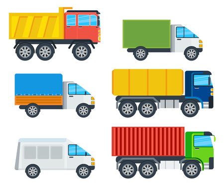 Trucks cartoon models. Lorry, freezer, tipper, road tanker, mining truck, container carrier, wagon vector illustrations isolated on white. Vehicles for freight transportation. For transport company ad