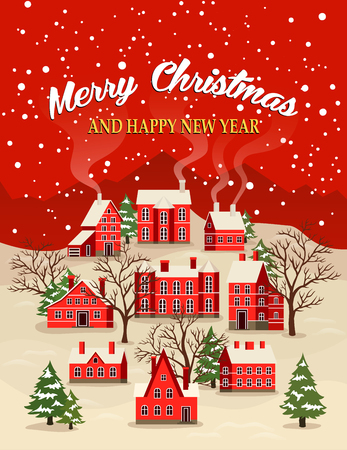 Merry Christmas and Happy New Year greeting card vector illustration. Houses in snowfall, rural winter landscape at holiday. Xmas poster with red brick christmas houses, snow covered little village