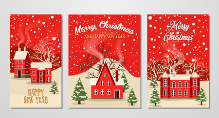 Marry Christmas and Happy New Year greeting card set vector illustration. Houses in snowfall, winter landscape at holiday eve. Xmas background with snow covered red brick house and christmas tree