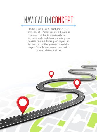 geotag: Navigation concept with pin pointer vector illustration. Map marker pointer on road map. GPS navigation system banner. Cartography mapping, ui pinning, discovery, geotag, tourism geolocation.