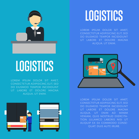 coordinating: Logistics and freight transportation illustration. Services operator coordinating cargo transportation, laptop with delivery map. Postal service and distribution, local delivery company Illustration