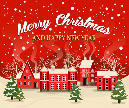 Huw Kerstmis en de Gelukkige illustratie van de de groetkaart van het Nieuwjaar. Kerstmisaffiche met rode baksteenKerstmishuizen, sneeuw behandeld dorp. Kerstkaart met sprookjehuizen, sneeuwstad bij vakantie. Stock Illustratie