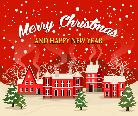 Marry Christmas and Happy New Year greeting card illustration. Xmas poster with red brick christmas houses, snow covered village. Christmas card with fairy tale houses, snowy town at holiday.