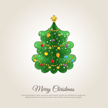 christmastide: Christmas celebrating . Decorated Christmas tree illustration. Merry Christmas and Happy New Year concept greeting card, Xmas party invitation design