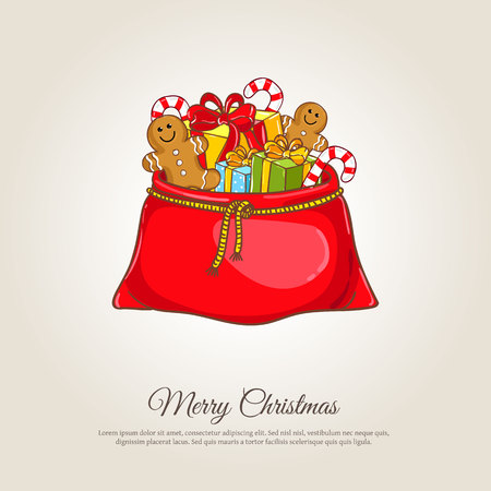santa sack: Christmas gifts . Large red Santa sack full of wrapped presents, gingerbread cookies, candy illustration. Merry Christmas and Happy New Year concept for greeting cart. Xmas shopping