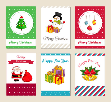 Christmas Greeting Cards And Xmas Party Invitations Set. Merry ...